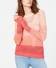 I.N.C. Ombré Open-Knit Sweater, Created for Macy's