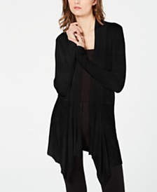 I.N.C. Ribbed-Knit Draped Cardigan, Created for Macy's