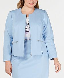 Calvin Klein Plus Size Collarless Zip-Front Blazer