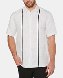 Cubavera Men's Big & Tall Contrast Panel Linen Shirt