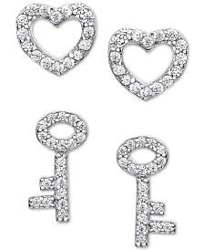 2-Pc. Set Cubic Zirconia Heart & Key Stud Earring in Sterling Silver