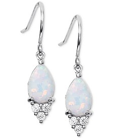 Giani Bernini Imitation Opal & Cubic Zirconia Drop Earrings in Sterling Silver, Created for Macy's