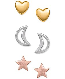 3-Pc. Set Tricolor Stud Earrings in Sterling Silver and 18k Gold- & Rose Gold-Plate