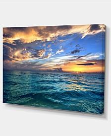"Designart Exotic Tropical Beach At Sunset Modern Seashore Canvas Art - 32"" X 16"""