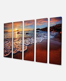 """Designart Stunning Ocean Beach At Sunset Canvas Art Print - 60"""" X 28"""" - 5 Panels"""