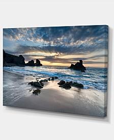 "Designart Beautiful Porthcothan Bay Seashore Canvas Art Print - 32"" X 16"""