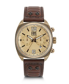 Frye Mens' Moto Engineer Chronograph Whiskey Leather Strap Watch