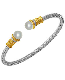 Freshwater Pearl (7.5-8mm) and Cubic Zirconia Braided Cuff in Sterling Silver