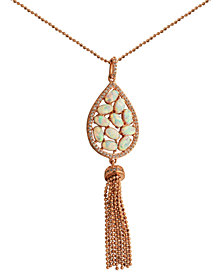 18K Rose Gold over Sterling Silver with Lab Created Opal and Cubic Zirconia Tassel Pendant