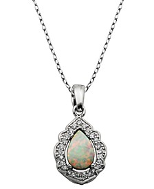 "925 Sterling Silver with Lab Created Opal and Cubic Zirconia Drop Pendant with 18"" Chain"