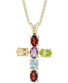 Multi-Gemstone Cross Pendant Necklace (3 ct. t.w.) in 18k Gold-Plated Sterling Silver