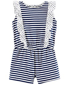 Carter's Baby Girls Striped Ruffle Cotton Romper