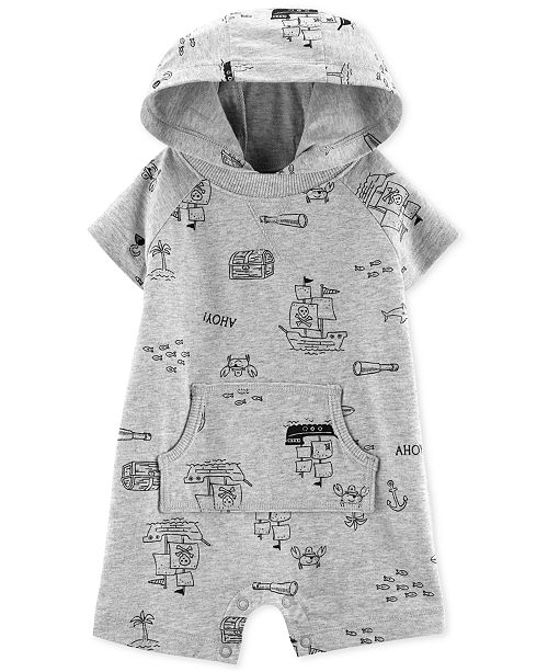 Carter's Baby Boys Map-Print Hooded Cotton Romper