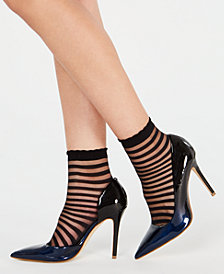 I.N.C. 2-Pk. Sheer Stripe Ankle Socks, Created for Macy's