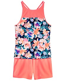 Ideology Big Girls Floral-Print Tankini Swim Top & Swim Boyshorts, Created for Macy's
