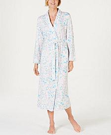 Miss Elaine Cottonessa Printed Long-Sleeve Knit Robe