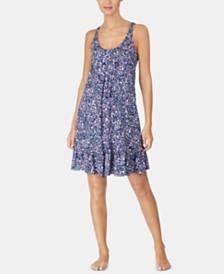 Lauren Ralph Lauren Printed Logo Embroidery Flounce Nightgown