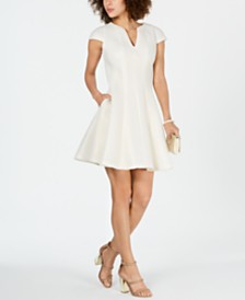 Julia Jordan Mesh Jacquard Fit & Flare Dress