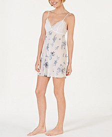 INC Flower-Print Lace Bodice Chiffon Chemise Nightgown, Created for Macy's