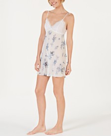 I.N.C. Flower-Print Lace Bodice Chiffon Chemise Nightgown, Created for Macy's