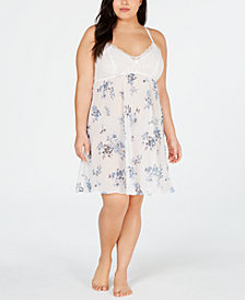 I.N.C. Plus Lace-Detail Chiffon Chemise, Created for Macy's