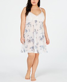 I.N.C. Plus Lace-Detail Chiffon Chemise Nightgown, Created for Macy's
