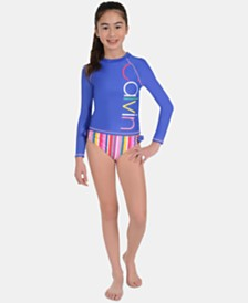 Calvin Klein Big Girls 2-Pc. Logo Rash Guard Swimsuit