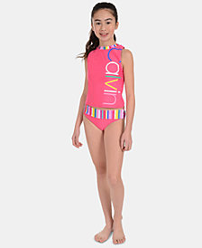 Calvin Klein Big Girls 2-Pc. Striped Tankini Swimsuit