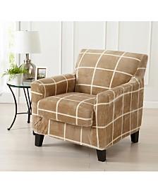 2 Piece Velvet Plush Printed Chair Slipcover