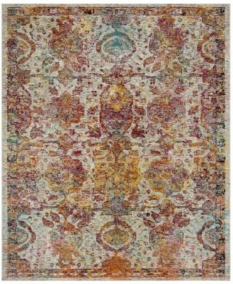 Crystal Light Blue and Orange 4' x 6' Area Rug