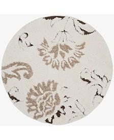 Safavieh Shag Cream and Dark Brown 4' x 4' Round Area Rug
