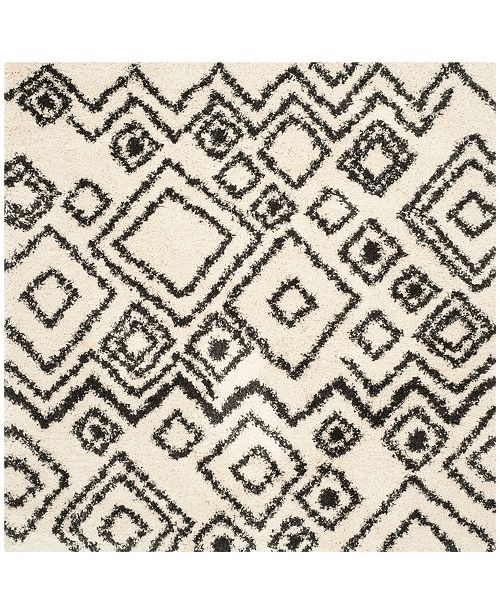 """Safavieh Belize Ivory and Charcoal 6'7"""" x 6'7"""" Square Area Rug"""