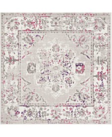 """Skyler Gray and Pink 6'7"""" x 6'7"""" Square Area Rug"""