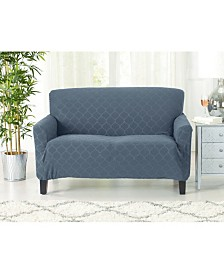 Form Fit Geometric Jacquard Stretch Loveseat Slipcover