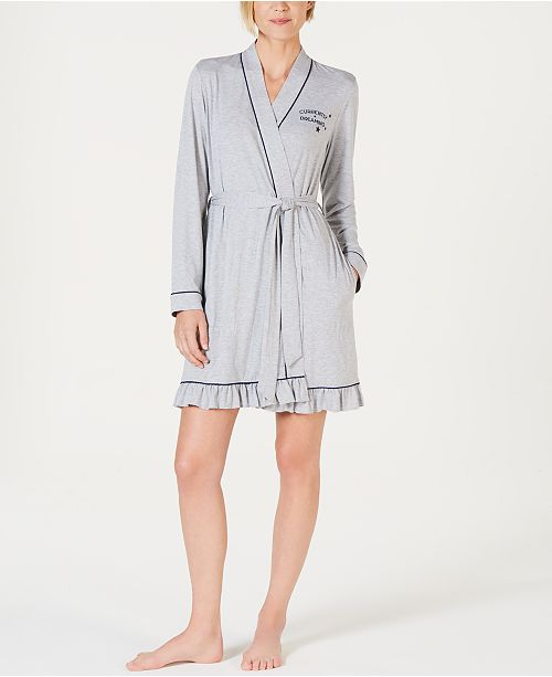 Jenni Embroidered Jersey Knit Robe, Created for Macy's