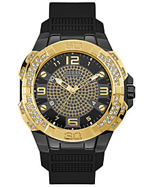 GUESS Men's Genesis Black Silicone Strap Watch 51.5mm