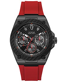 Men's Red Silicone Strap Watch 45mm