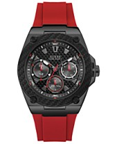 60f4be208e GUESS Men s Red Silicone Strap Watch 45mm