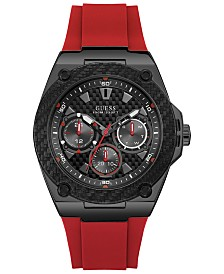 GUESS Men's Red Silicone Strap Watch 45mm