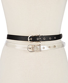 Steve Madden Chain-Link Clear & Solid 2-For-1 Skinny Belts