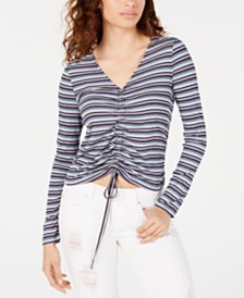 American Rag Juniors' Drawstring Printed Top, Created for Macy's