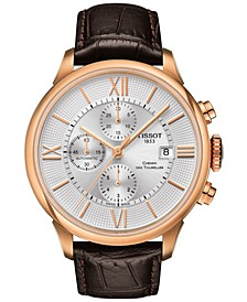 Men's Swiss Automatic Chronograph T-Classic Chemin des Tourelles Brown Leather Strap Watch 44mm
