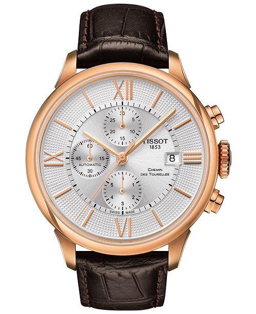 Tissot Men's Swiss Automatic Chronograph T-Classic Chemin des Tourelles Brown Leather Strap Watch 44mm