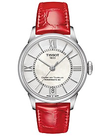 Tissot Women's Swiss Automatic T-Classic Chemin des Tourelles Red Leather Strap Watch 32mm