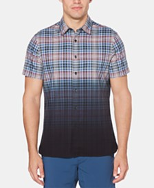 Perry Ellis Men's Dip-Dye Plaid Oxford Shirt