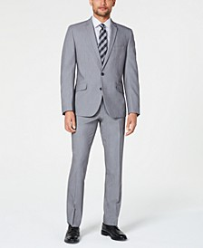 Men's Slim-Fit Performance Stretch Light Gray Suit
