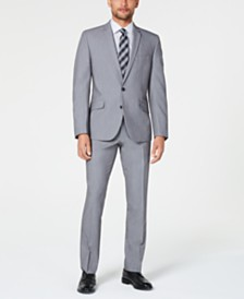 Billy London Men's Slim-Fit Performance Stretch Light Gray Suit