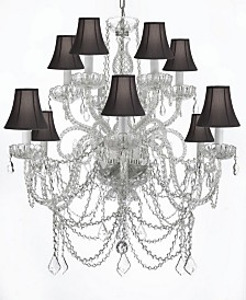 Venetian Style 12-Light Crystal Chandelier with Shades