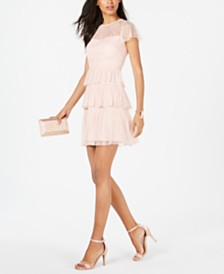 Adrianna Papell Tiered Lace Mini Dress