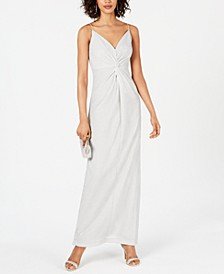 Allover Metallic Knotted Gown